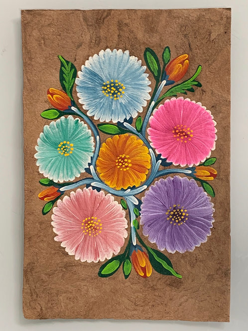 A Lovely Vintage Traditional  Mexican Oil Painting on Amate Tree Bark