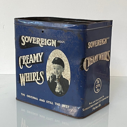 CREAMY WHIRLS TIN - vintage sweets tin