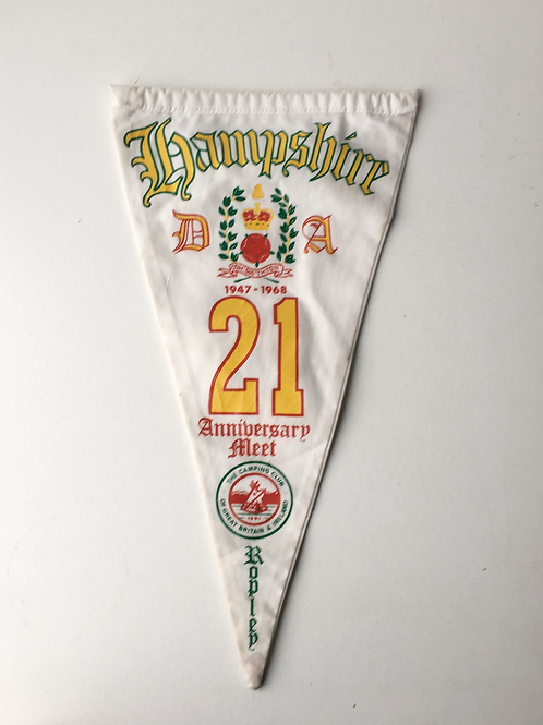 Vintage 1960s Camping Club Great Britain Pennant Flag - HAMPSHIRE 21 Years