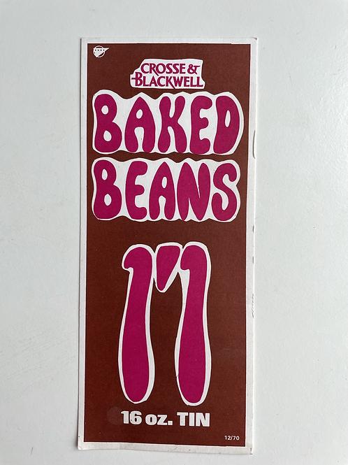 BAKED BEANS - vintage crosse & blackwell shop price label