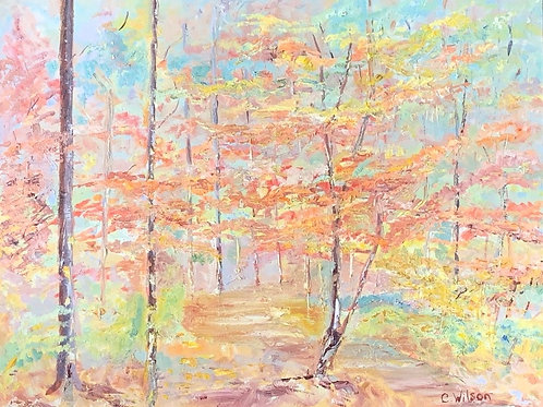 TREES IN THE FALL WASHINGTON DC - original  intage oil painting