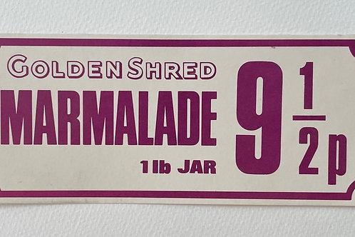 MARMALADE - vintage golden shred shop price label