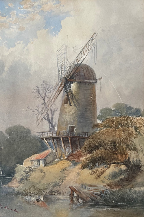 WINDMILL - vintage watercolour painting
