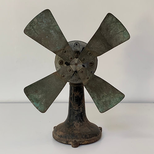 Old Vintage French Metal Rotating Air Fan - Decorative Salvage