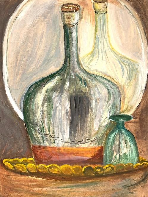 Vintage 1960s Still Life Painting Glass & Bottle - Kay Baldwin 1967