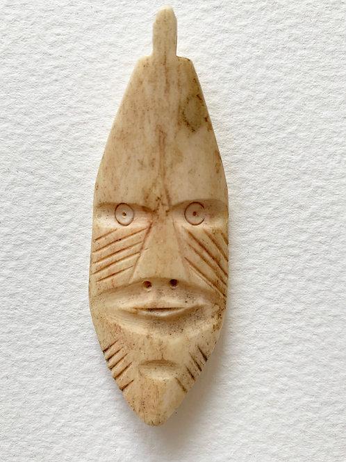 Vintage Hand Carved Folk Art Character Figure Pendant  - Bone Tribal Jewellery