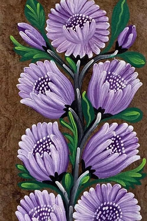 FLOWERS PAINTING on Amate Tree Bark - Vintage Traditional Mexican Original Art