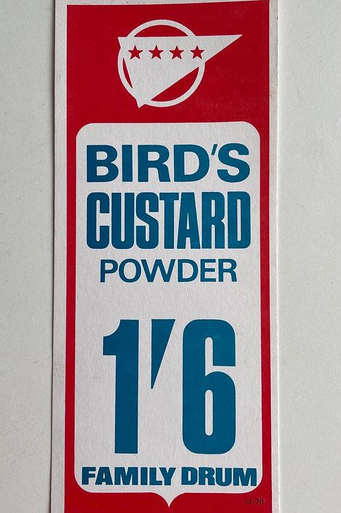 BIRDS CUSTARD POWDER - vintage  shop price label