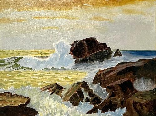 SEASCAPE WAVES CRASHING ON ROCKS  - original 1970s painting