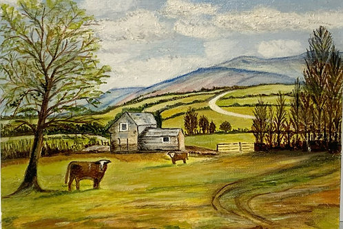 WELSH BLACK MOUNTAINS PAINTING - iline uffindel farm - vintage welsh landcsape