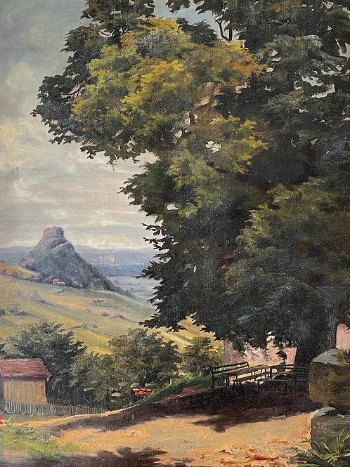 COUNTRY SCENE - antique original art painting