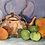Thumbnail: COPPER KETTLE WITH  FRUIT STILL LIFE  PAINTING - vintage art original oil