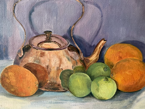 COPPER KETTLE WITH  FRUIT STILL LIFE  PAINTING - vintage art original oil