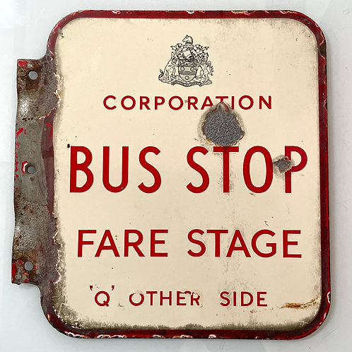 BUS STOP SIGN - vintage double sided enamel