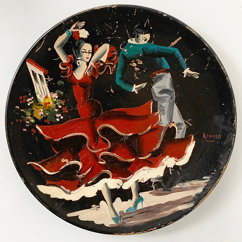 FLAMENCO DANCERS - old vintage hand painted wall plate plaque