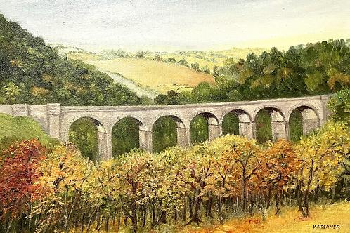 AQUEDUCT painting  - original vintage landscape by ve denner