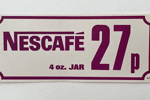 NESCAFE COFFEE  - vintage food shop price label