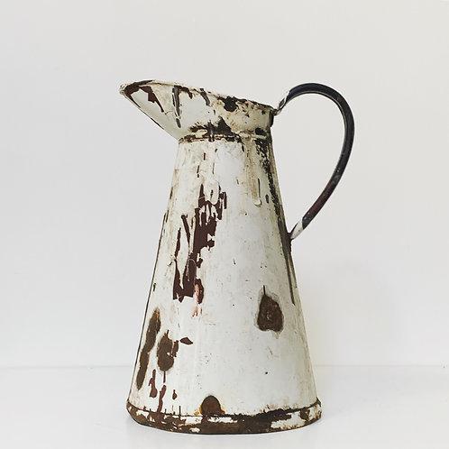 ENAMEL WATER JUG - old vintage - distressed decorative
