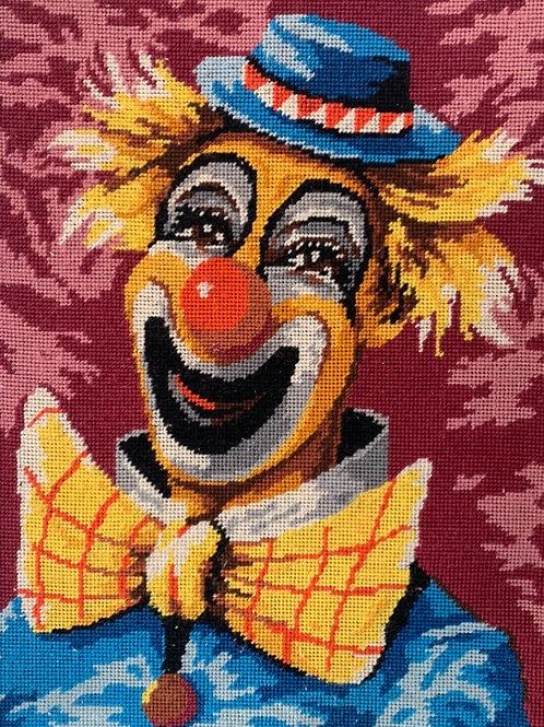 Vintage Framed JOKER LAUGHING CLOWN Tapestry Portrait