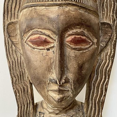 CARVED WOOD FEMALE FIGURE - decorative folk art