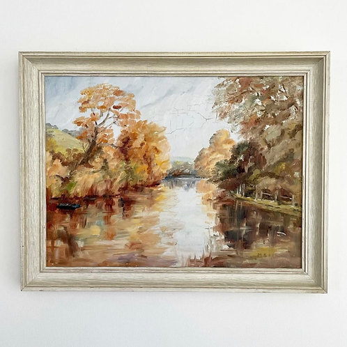 RIVER LANDSCAPE - original vintage oil painting