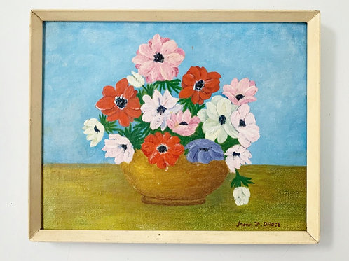 STILL LIFE FLOWERS - vintage original painting on canvas board