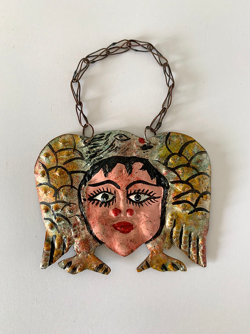 Vintage Mexican Bottle Label - Hand Painted Copper