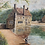 Thumbnail: COUNTRY LAKE WITH FISHERMAN painting by b lewis - vintage art oil on board