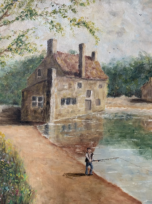COUNTRY LAKE WITH FISHERMAN painting by b lewis - vintage art oil on board