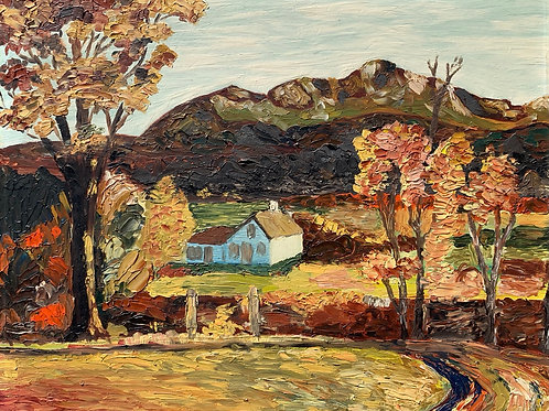 COUNTRY COTTAGE WITH MOUNTAINS - impasto oil painting