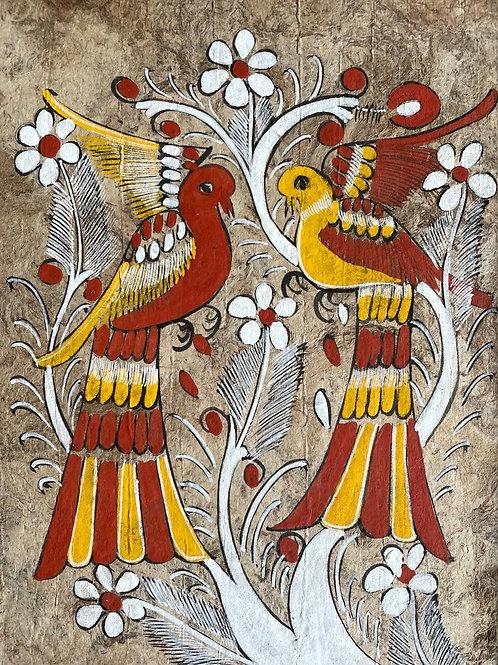 MEXICAN BIRDS - vintage art painting on tree bark