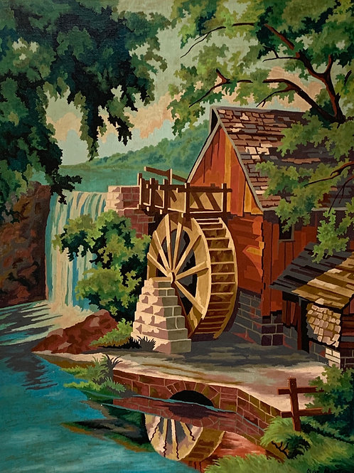 WATERMILL SCENE PAINTING by Olive Martin