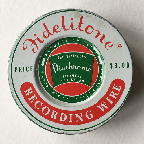 Vintage American Fidelitone Sound Recording Wire Tin - Diachrome Chicago