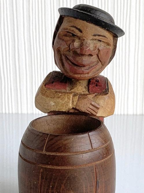 ANRI MATCH HOLDER - vintage black foresthand carved wood