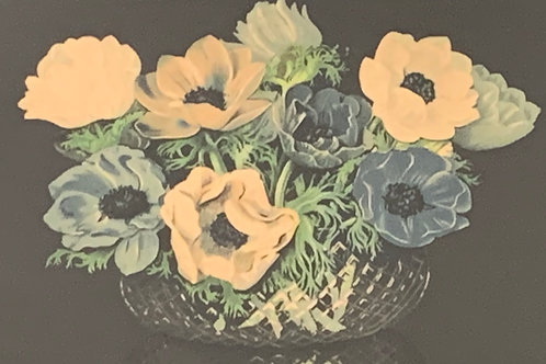 Vintage Original Framed Watercolour Painting Poppy Flowers - Floral Still Life