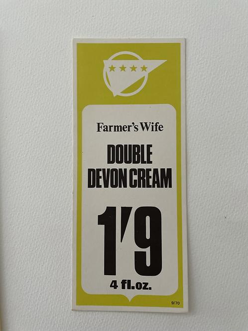 DOUBLE DEVON CREAM - vintage food shop price label