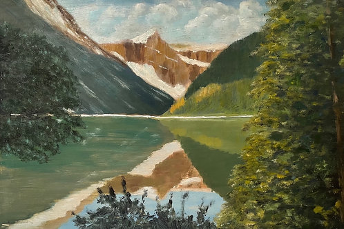 LAKE LOUISE CANADA - vintage 1970s painting by robin wood