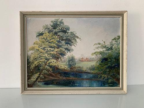 LANDSCAPE TREES & RIVER - vintage oil painting