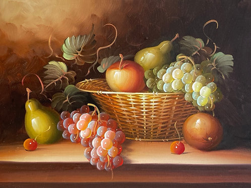 STILL LIFE WITH FRUIT - vintage painting on board