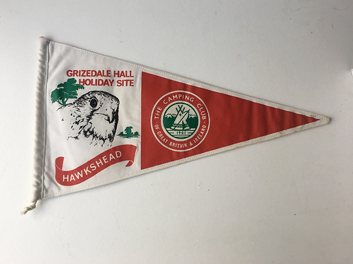 Vintage 1960s Camping Club Great Britain Pennant Flag HAWKSHEAD Grizedale Hall