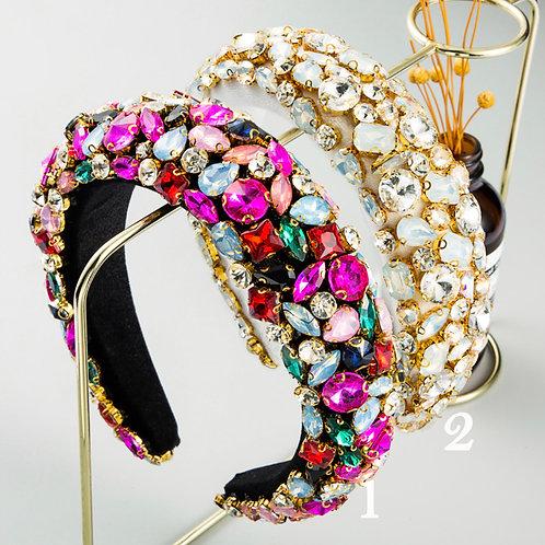 Baroque Rhinestone Wide Hoops Sparkle Party Headband M94 (5Pieces)