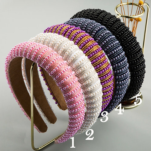 Rhinestone Padding Wide Hoops Sparkle Party Hairband M43 (5pieces)