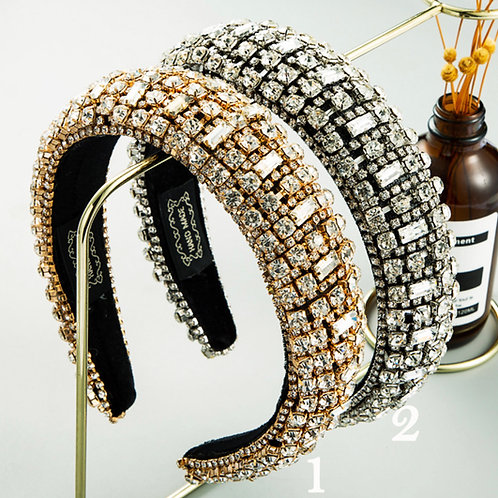 Rhinestone Padded  Wide Hoops Sparkle Party Hairband M142  (5pieces)