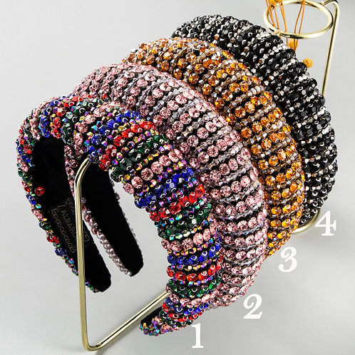 Rhinestone Padded Wide Hoops Sparkle Party Hairband M370  (5pieces)