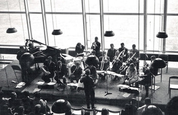 The New Jazz Orchestra directed by Neil Ardley at the University of Sussex on 29 May 1965 with Ian Carr soloing in the back row (photo kindly supplied by Mo Foster)
