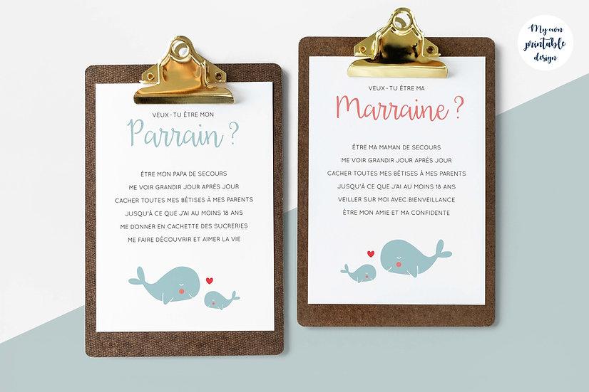 Duo cartes parrain et marraine - Collection baleine - Fichier numérique