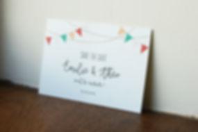 Save the date A6 à imprimer, mariage guingette, fanion et guirlandes lumineuses, My own printable design