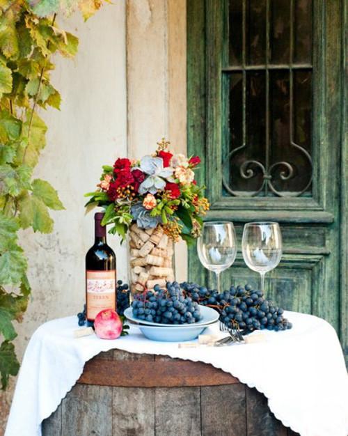 Centre de table mariage thème viticole