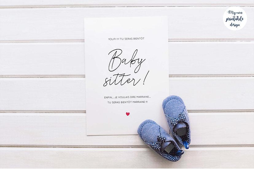 Carte annonce marraine - Collection baby sitter - Fichier numérique