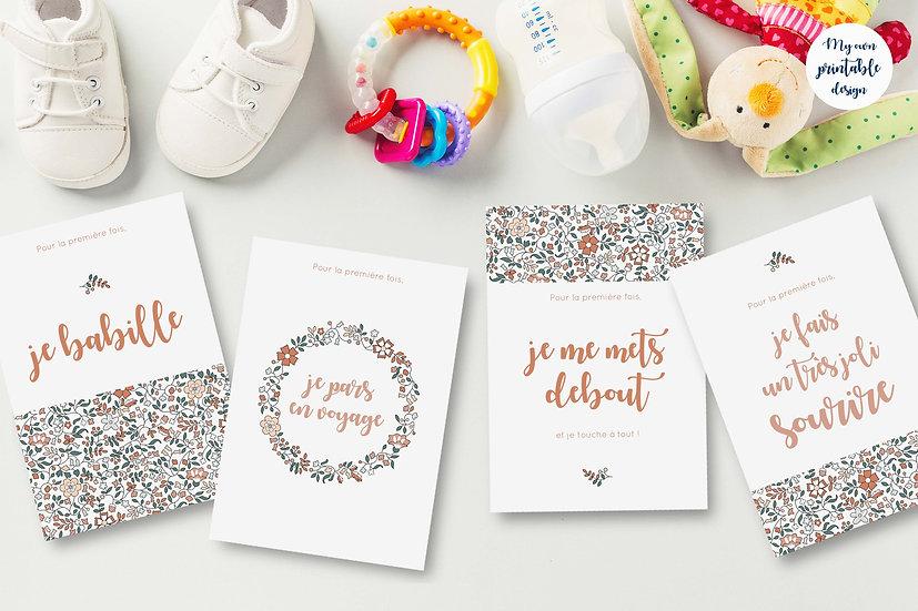 24 cartes premières fois bébé - Collection Liberty beige - Fichier numérique